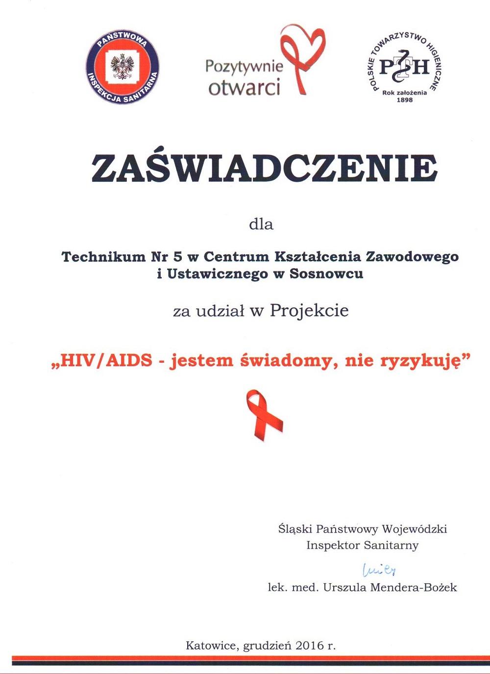 Obchody światowego Dnia Walki Z Aids Ckziu Sosnowiec